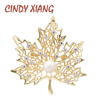 CINDY XIANG Rhinestone And Pearl Maple Brooches For Women Gold Color Winter Design Luxury Wedding Brooch Pin High Quality Gift cindy xiang colorful cubic zirconia daisy brooches for women sunflower brooch pin copper jewelry zircon corsage high quality