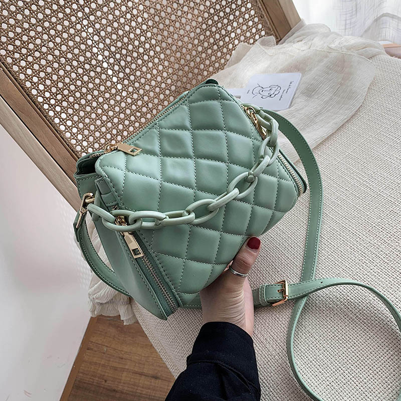 Solid Color PU Leather Bucket Bags For Women 2020 Fashion Chain Shoulder Crossbody Bag Female Handbags And Purse