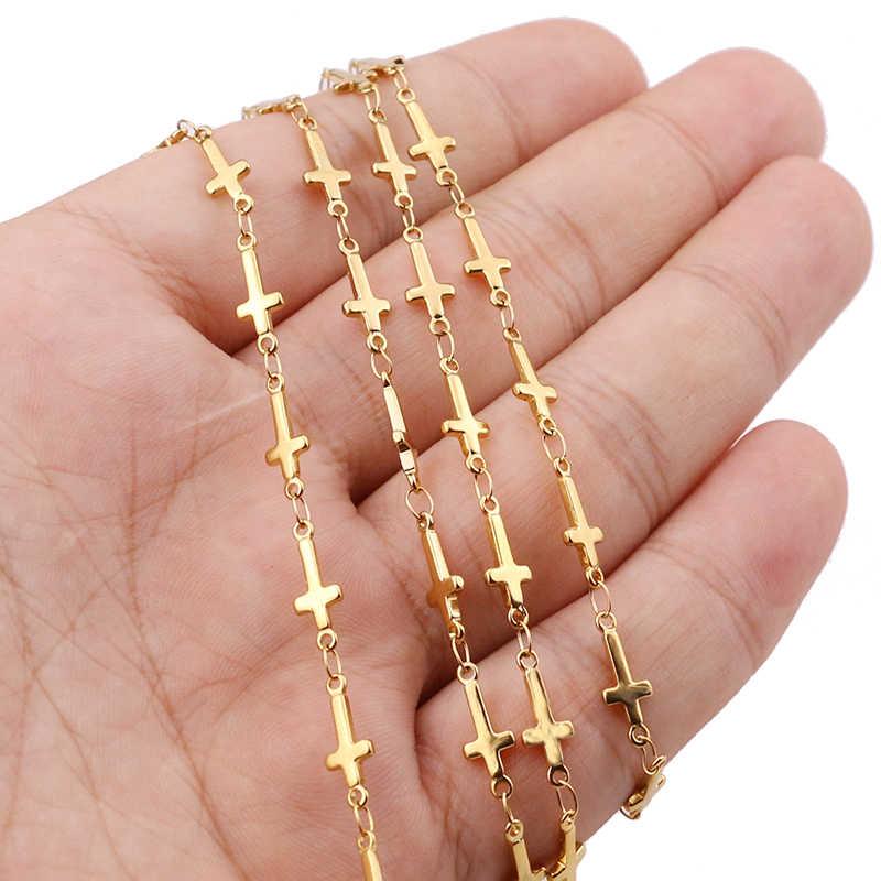 1 Meter Edelstahl Gold Farbe Kreuz Link Manuelle Kette für DIY Männer Frauen Halskette Armband Fußkettchen, Der Schmuck Erkenntnisse