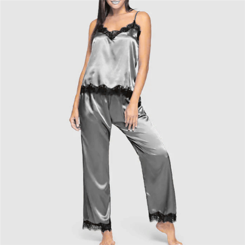 Womens Ladies Satin Pyjama Set Silky Summer Spaghetti Strap Lace Patchwork Lounge Wear Pajamas Sleeveless Set