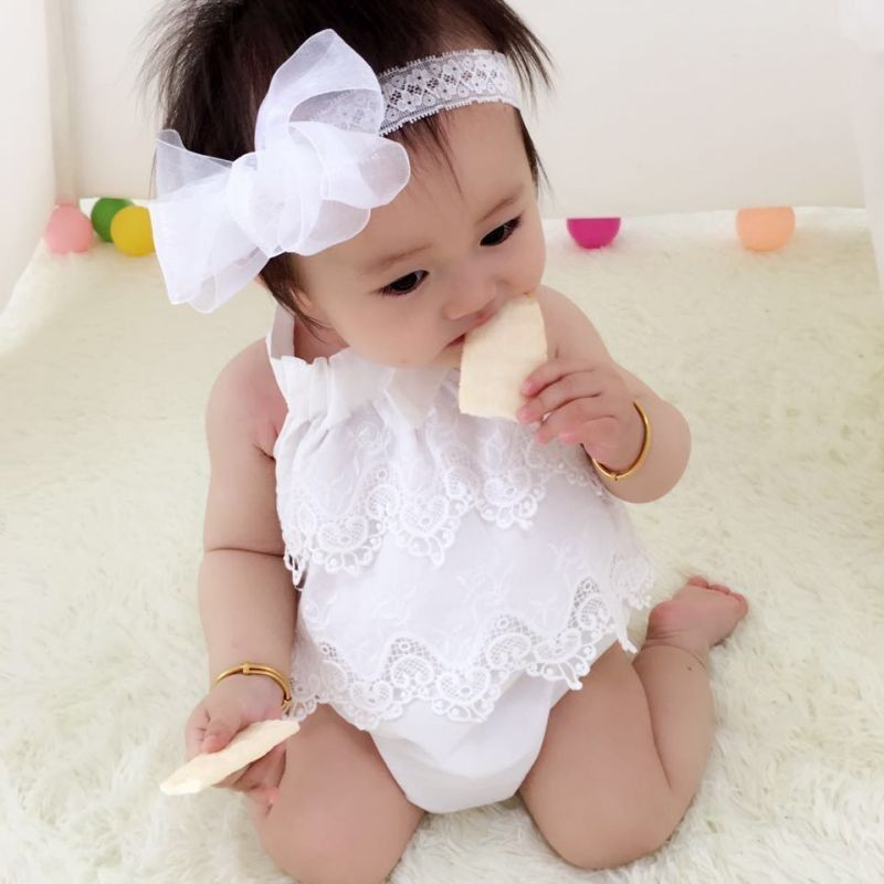 2020 Pudcoco Newborn Summer Body Suits Baby Girls Flower Lace Bodysuit Jumpsuit Outfits Sunsuit Clothes 0-18M