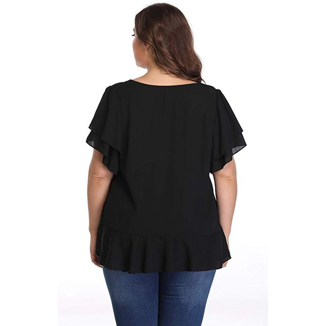 Womens Tops And Blouses Solid Plus Size Short Sleeve V Neck Shirt Ruffle Sleeve Blouse Ladies Tops Casual Chemise Femme#3 4