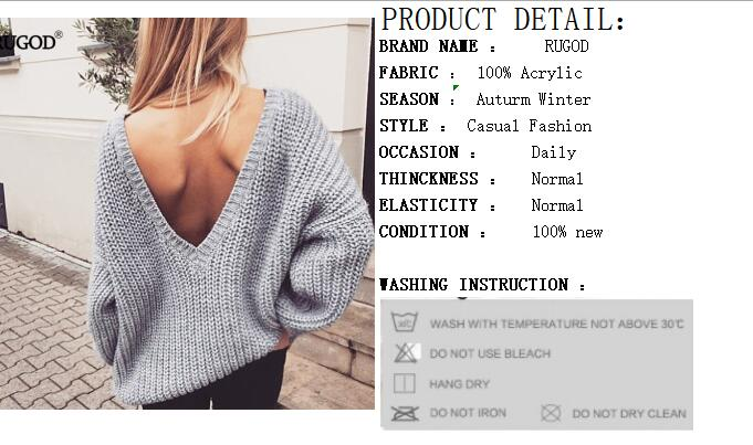 Rugod 19 New Sexy Backless V-neck Sweater Women Pullover Autumn Winter Casual Knitted Sweater Femme Tricot Pullover Jumpers 1