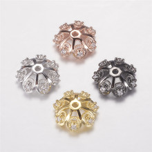 10pcs Brass Micro Pave Cubic Zirconia Flower Bead Caps for Jewelry Making DIY Bracelet Necklace Findings 12x4mm Hole: 1mm