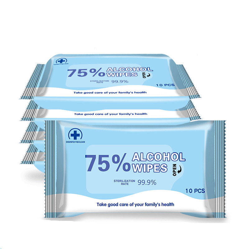 Portable 50 Pcs 75% Alcohol Wet Wipe Disposable Disinfection Alcohol Wipes Home Skin Cleanser Sterilization
