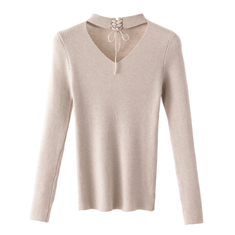 Gkfnmt 2019 New Autumn Women Slim Sweater Winter Knitted Sweater Lace Up Long Sleeve Knitting Womens Sweaters And Pullover