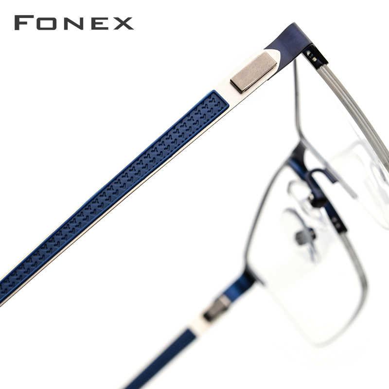 Fonex armação masculina, armação para óculos de grau masculina, para miopia, quadrado, sem parafusos 9843