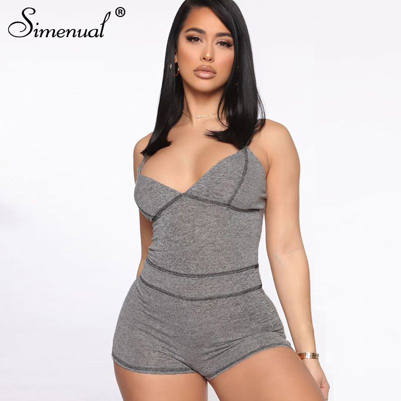 Simenual Fitness Workout Rompers Womens Jumpsuit Sporty Active Wear Casual V Neck Strap 2020 Summer Playsuits Fashion Bodycon