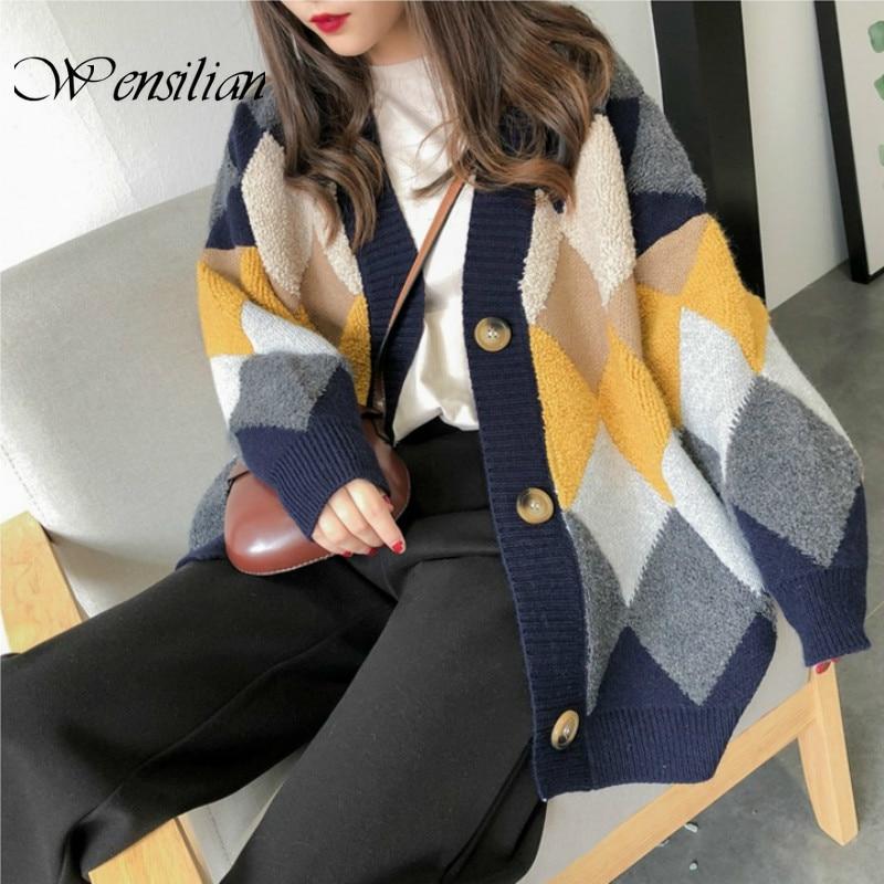 Plaid Long Cardigans Women Sweaters Puff Sleeve Jumper Casual Women's Knitted Jackets Winter Outwear Coats Female Sweater Mujer