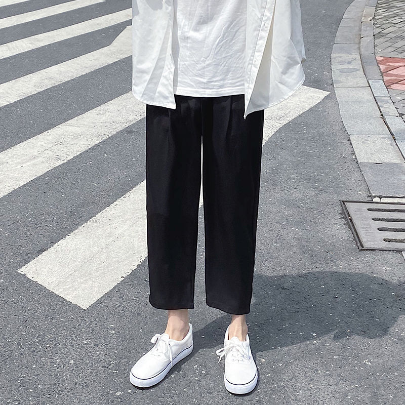Summer Thin Casual Pants Men's Fashion Solid Color Business Dress Pants Men Streetwear Wild Loose Straight Trousers Mens M-5XL