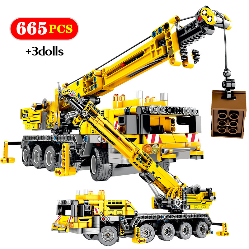 City Engineering Truck Bulldozer Crane DIY Building Blocks Legoing Technic Construction Car Excavator Roller Bricks Toy For Boy