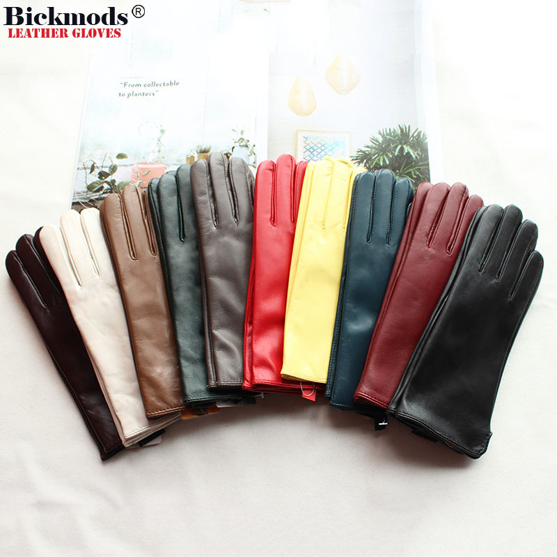 Leather Sheepskin Gloves Women's Autumn Warm Fleece Lining Color Fashion Thin Outdoor Activities Electric Bike Riding Driving