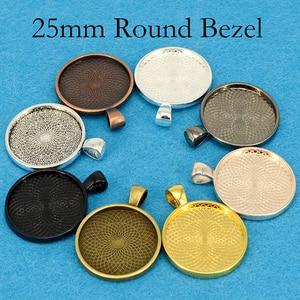 Image 2 - Plateau à pendentif plaqué argent, cadre de résine à pendentif rond, cadre de Cabochon de 25mm, cadre de résine, 25mm, 100 pièces
