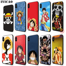 цена IYICAO One Piece Luffy Soft Black Silicone Case for iPhone 11 Pro Xr Xs Max X or 10 8 7 6 6S Plus 5 5S SE