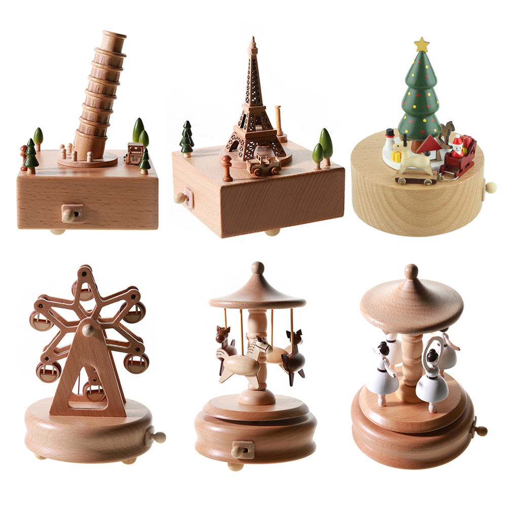 Wood Music Box Caja Musical Wooden Boxes Girls Clockwork Craft Free Engraved Birthday Gift Home Decoration Accessories 5