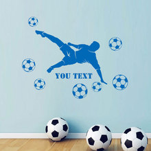 Personalised Name Footballer Player Goal Scorer Soccer Football Wall Sticker Vinyl Home Decor Boy's Room Kids Bedroom Decal 3813 3d soccer player and goal wall art sticker decal