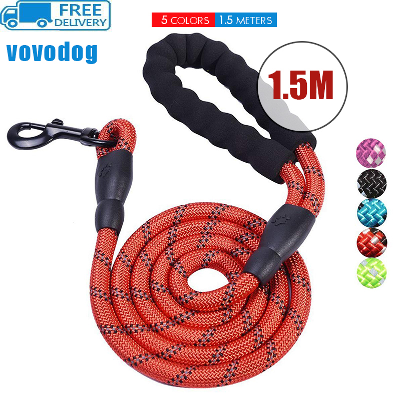 vovodog Leashes Strong Nylon Line Soft Handle Large Size For Cat Dogs Outdoor Walking Training Reflective Leashes Pets Supplier