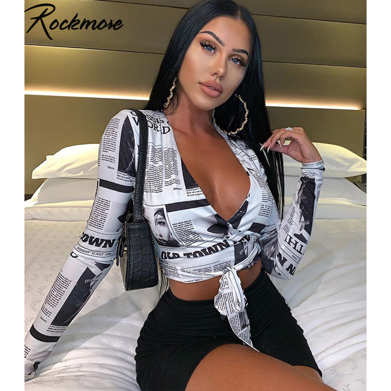 Rockmore Newspaper Letter Print Women T Shirt Deep V-neck Sexy Tees Shirts Long Sleeve Crop Top Streetwear  Basic Tshirt Womens
