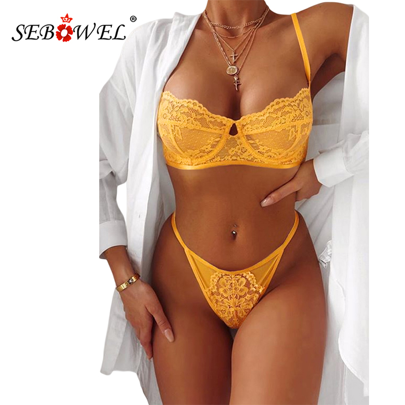 SEBOWEL Yellow/Black Sexy Bralette Women Floral Lace Lingerie Set Blossom Bra Top And Thong Female Bedtime Lenceria Underwear