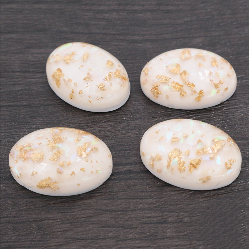 18x25mm 10pcs/Lot New Fashion White Color Built-in Metal Foil Flat Back Resin Cabochons Cameo-V6-19