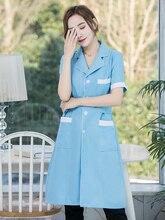 Косметолог комбинезоны Женские белые пальто по управлению коротким рукавом платье медсестра врач татуировки кожи