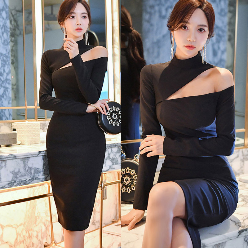 BacklakeGirls Black Cocktail Dresses Ever Pretty Sexy Sheath Short Party Gowns 2020 New Arrival Long Sleeve Formal Dresses