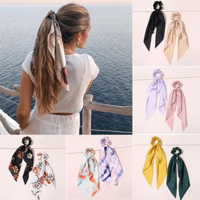 Floral Print Bow Satin Long Ribbon Ponytail Scarf Hair Tie Scrunchies Women Girls Elastic Hair Bands Hair Accessories 1