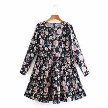 Mini Dress Quarter-Sleeve Vestido Floral-Printing Tiered-Ruffle High-Street Women Female