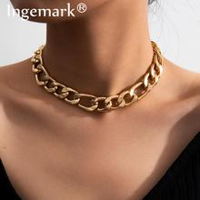 High Quality Punk Cuban Choker Necklace Pendant Women Collares Statement Hiphop Big Chunky Aluminum Chain Necklace Men Jewelry