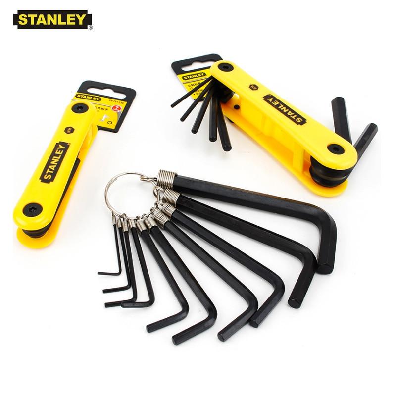 Stanley 1 Set Durable Portable Fold-up Keys Flat/torx Hexagon Wrench Spanner Bike Bicycle Folding Allen Key Set Inch Metric