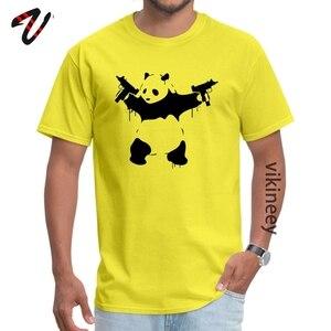 Banksy Panda Guns koszulka z okrągłym dekoltem nowy rok dzień koszulki Plaid rękaw tania drukowana topy i koszulki komiks Student