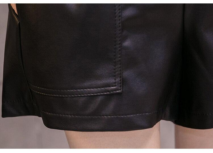 Elegant Leather Shorts Fashion High Waist Shorts Girls A-line Bottoms Wide-legged Shorts Autumn Winter Women 6312 50 105