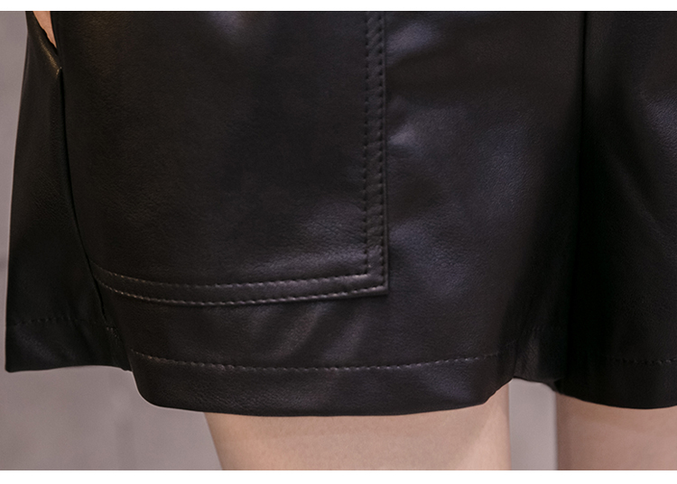 Elegant Leather Shorts Fashion High Waist Shorts Girls A-line  Bottoms Wide-legged Shorts Autumn Winter Women 6312 50 58