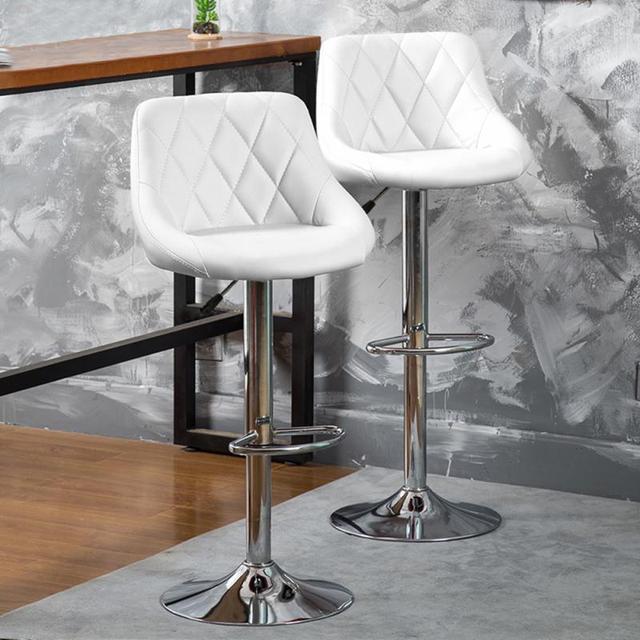 2Pcs/Set Bar Chair Lift Adjustable Height Fashion Creative Rotating Household Modern Backrest High Pub Chair Table Stool HWC