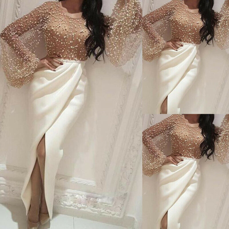 Women High Split Dress Long Sleeve Pearl Beading Long Maxi Dress  Elegant Woman Party Evening Asymmetry Formal Dresses Vestidos