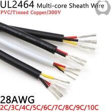 Linha de áudio 2 3 4 5 6 7 8 9 10 núcleos isolados cabo de cobre macio fio de controle de sinal 10m 28awg ul2464 cabo revestido