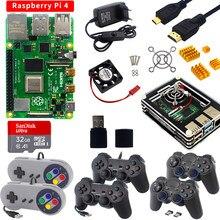 Raspberry Pi 4 2GB/4GB RAM + akrylowa skrzynka + gamepady Joystick + karta SD + zasilacz + wentylator chłodzący do Raspberry Pi 4 Model B