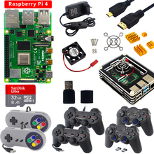 Joystick Gamepads Acrylic-Case Power-Supply Hdmi-Cable Raspberry Pi 4-Model Card 2GB