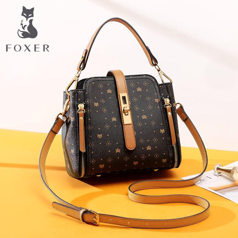 FOXER Elegant Female Handbag Large Capacity Commuter Style Fall Winter Bag For Women Classical PVC Purse Lady Shoulder Bags