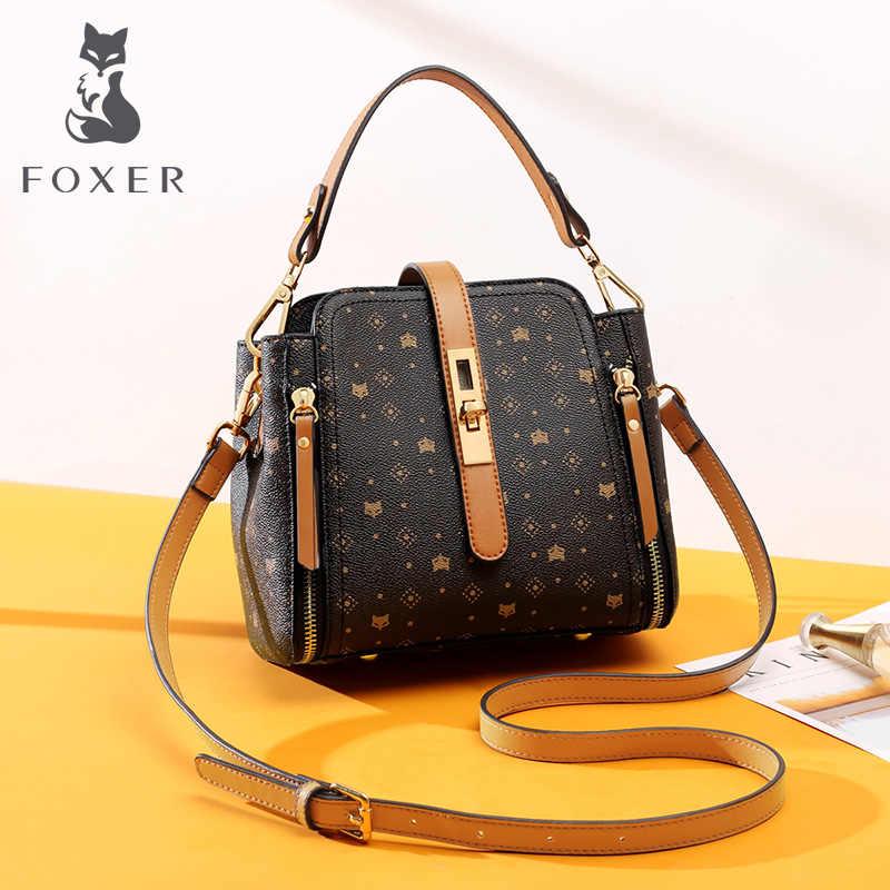 FOXER 우아한 여성 핸드백 대용량 통근 스타일 가을 겨울 가방 여성을위한 클래식 PVC 지갑 레이디 어깨 가방