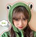 Winter Skullies Cute Women Frog Hat Crochet Knitted Hat Costume Beanie Hats Cap Women Gift Hip-hop Cap Photography Prop Party