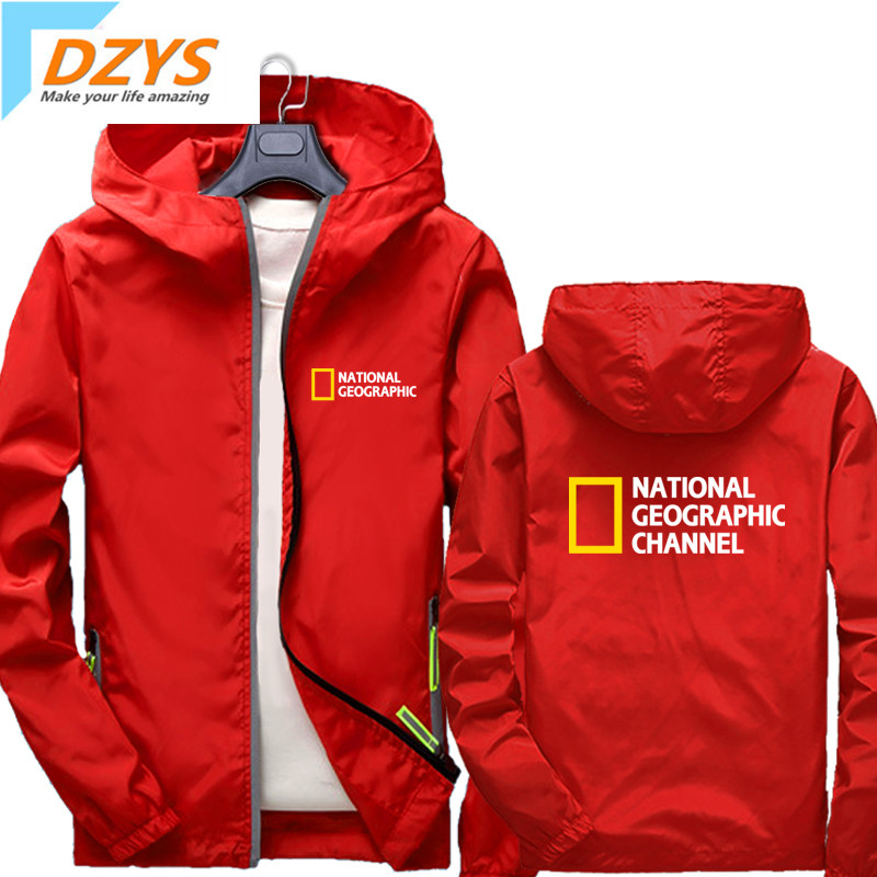 National Geographic Photography Association Tourism Outdoor Channel Hooded Jacket Men And Women Thin Zip Coat Clothes