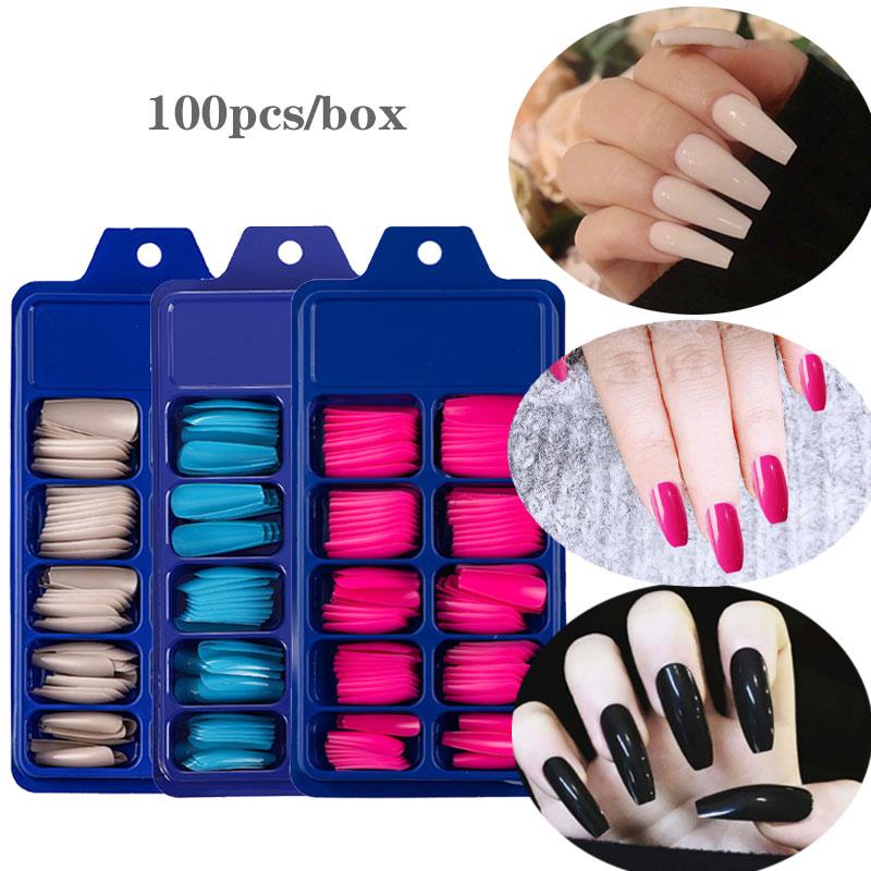 100 шт./кор. накладные акриловые ногти, накладные ногти в гробе, прозрачные/натуральные/белые модные ногти, накладные ногти с клеем для детей