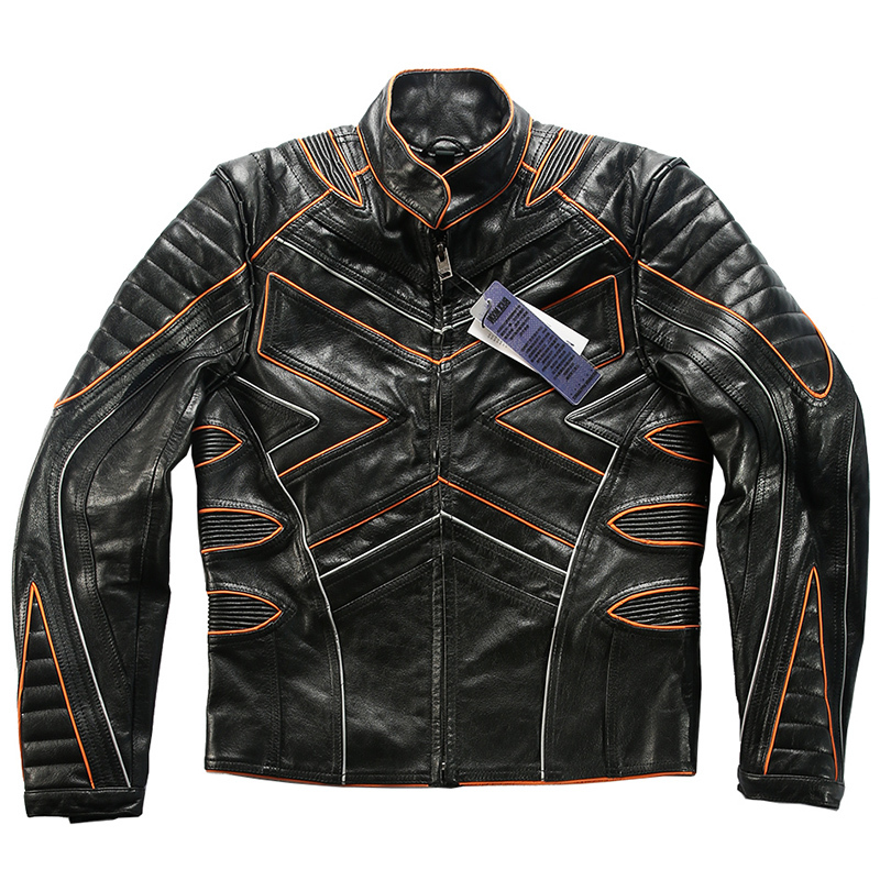 X Read Description! Asian Size Men's High Quality Cow Leather Outwear Mens Cowhide Genuine Leather Light Reflecting Biker Jacket