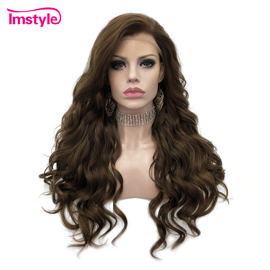 Imstyle Brown Wig Deep Wave Synthetic Lace Front Wig High Temperature Fiber Lace Wigs For Women Daily 24inches Glueless Wigs