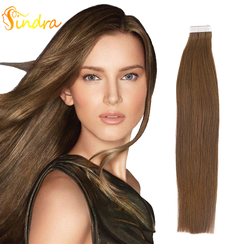 Sindra Tape In Remy Hair Extensions Pure Color #4 Natual Black 100% Human Hair Extensions Tape In Hair 40Pcs 20pcs Per Pack