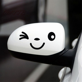 2pcs smiling blink winks face vinyl Car motorcycle Sticker Decal Decor for bmw benz audi toyota vw mazda kia skoda car-styling image