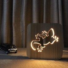 3d Wooden Lamp Gecko Lizard Wood Night Light USB Mood Birthday Xmas Gift Solid wood carved hollow artwork