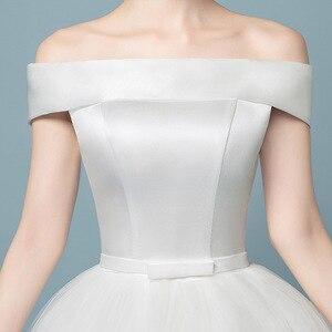 Image 5 - Boot ausschnitt Spitze Hochzeit Kleid 2019 Neue Fashion Floral Print Prinzessin Traum Braut weg von der schulter Koreanische vestido de noiva