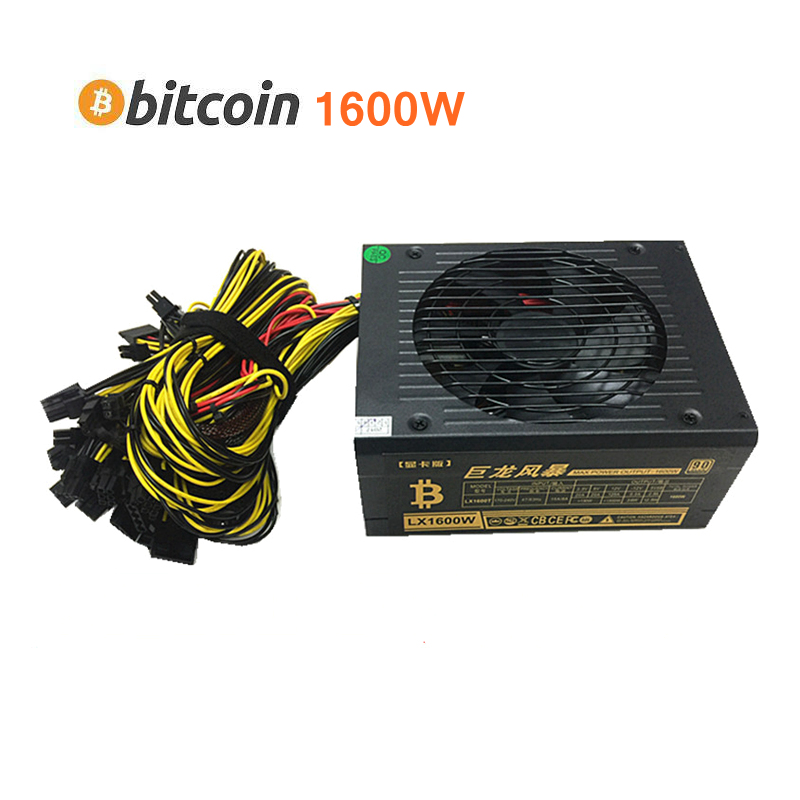 Etherfie Miner Powre Supply 1600W Asic Bitcoin XMR Case PSU ATX 12V 125A R9 370 380 <font><b>RX</b></font> 470 480 570 <font><b>580</b></font> 1060 Graphics Card A image
